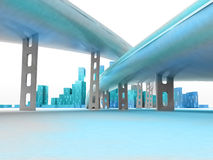Two highways leading to modern skyscraper city render Royalty Free Stock Photography