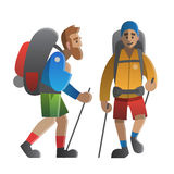Two hikers and backpackers. Trekking, hiking, climbing, travelin. Vector illustration on the theme of hiking, backpacking, climbing, traveling, trekking, walking Stock Photo