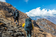 Two Hikers with Backpacks walking up on Mountain Trail Stock Images