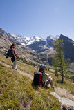 Two hikers in canadian rockies Stock Photo