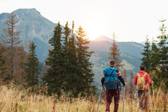 Two hikers out trekking in the hills Royalty Free Stock Photo