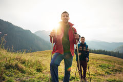 Two hikers standing together in the great outdoors stock photos