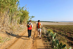 Two hikers on the Via de la Plata walking towards Guillena, province of Sevilla, Andalusia, Spain Stock Photos