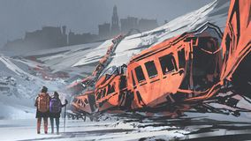 Two hikers walking through a train wrecked vector illustration