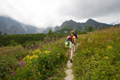 Two hiking girls. Two young girls hiking in Tatra Mountains in cloudy day Stock Photography