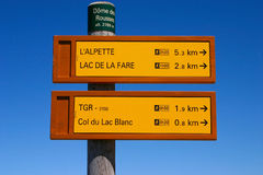 Two Hiking Signposts. Signpost of hiking trails in the French Alps Stock Images