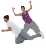 Two hip hop dancers. Two young hip hop dancers posing isolated on white background Royalty Free Stock Photo