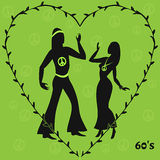 Two hippie dancers,retro illustration of sixties Royalty Free Stock Images