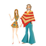 Two hippies in cartoon style Royalty Free Stock Photo