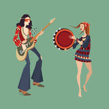 Two hippies playing musical instruments. Vector illustration of two hippies playing musical instruments and dancing, in cartoon style Stock Photography