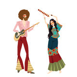 Two hippies playing musical instruments. Vector illustration of two hippies playing musical instruments and dancing, in cartoon style Royalty Free Stock Image