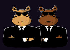 Two hippo in black. Two hippo dressed in black suits and sunglasses Royalty Free Stock Photos