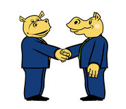 Two hippo in suits 3. Two hippo in suits and with a handshak Royalty Free Stock Image