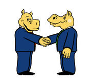 Two hippo in suits 1. Two hippo in suits and with a handshake Royalty Free Stock Photos