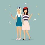 Two hipster girlfriends taking a selfie with mobile phone.. Concept of friendship and fun with new trends and technology. Vector illustration Stock Photography