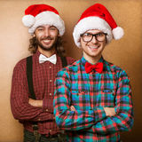 Two hipster in Santa Claus Royalty Free Stock Photo