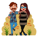 Two hipsters Stock Images