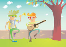 Two Hipsters Playing Guitar and Trumpet Royalty Free Stock Photography