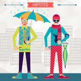 Two hipsters on urban background in retro style Stock Photography