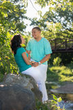 Two Hispanic Couple Engagement Picture Stock Image