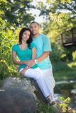 Two Hispanic Couple Engagement Picture Stock Images
