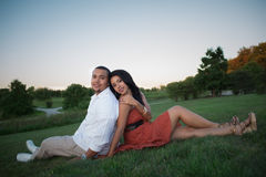 Two Hispanic Couple Engagement Picture Stock Photo