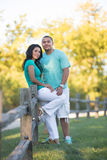 Two Hispanic Couple Engagement Picture Walking Royalty Free Stock Image