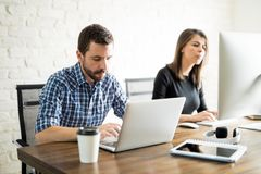 Business partners focused on a project Royalty Free Stock Photo