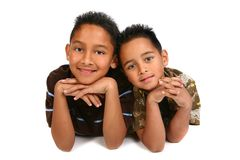 Two Hispanic Young Brothers Smiling Stock Photography