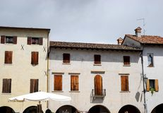 Two historic houses in Portobuffolè in the province of Treviso in the Veneto (Italy) Stock Image