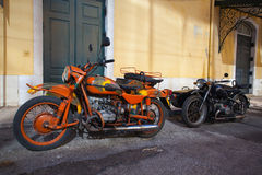Two historic motorcycle with sidecar Stock Image