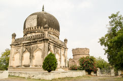 Finished and Unfinished Mirza, Golconda. Two historic tombs, part of the Qutub Shahi complex built during the Mughal Empire in Golconda, Hyderabad.  The Sultan Royalty Free Stock Photos