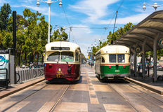 Two historic tram in San Francisco Stock Image