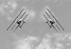 Two historic triplanes on the sky. Royalty Free Stock Images