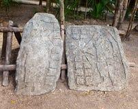 Two historical exhibits. Archeologic zone Kabah. Stock Photo