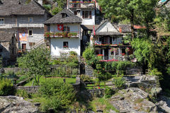 Houses in Ticino, Switzerland. Two historical houses in Lavertezzo, Val Verzasca - Ticino Canton of Switzerland during summertime Stock Photography