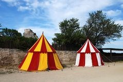Two historical medieval camp tent Stock Photo