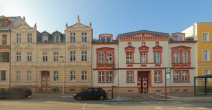 Two historical 19th century houses, listed as monuments in Greifswald, Germany stock photo