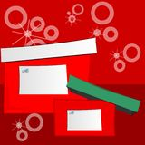 Two Holiday Gift Boxes. Festive holiday packages with gift tags blank for copy Stock Images