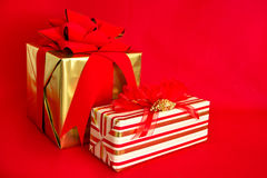 Two Holiday Gifts Royalty Free Stock Photos
