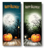 Two Holiday Halloween Banners with Pumpkins and Moon. Stock Image