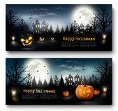 Two Holiday Halloween Banners with Pumpkins and Moon. Stock Photo