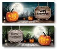 Two Holiday Halloween Banners with Wooden Sign. Stock Images