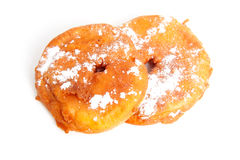 Two home baked appelflappen ( apple fritter) Stock Image