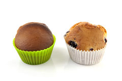 Two home baked muffins Royalty Free Stock Photography