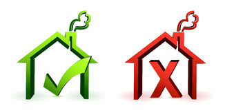 Two home icons for good and bad check Stock Image