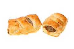 Two homebaked sausage rolls Royalty Free Stock Photography