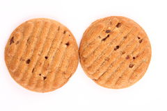 Two homemade chocolate cookies. Stock Photo