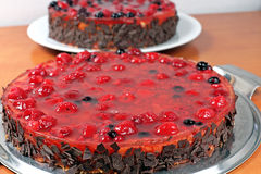 Two homemade fruit jelly cake with raspberries and wild berries Royalty Free Stock Photo