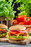 Two homemade hamburgers made from fresh vegetables stock photo